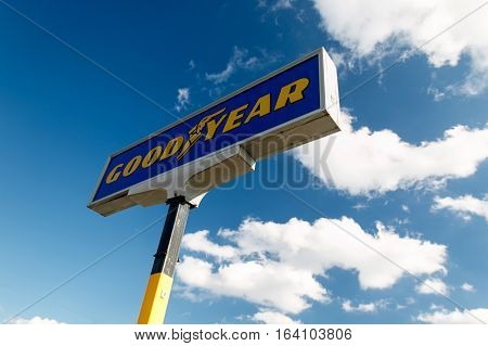Absecon NJ December 10 2016: Sign for Goodyear tire shop. The Goodyear Tire & Rubber Company is an American tire manufacturing company.