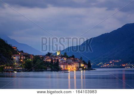 Rezzonico Lago di Como at twilight and landscape