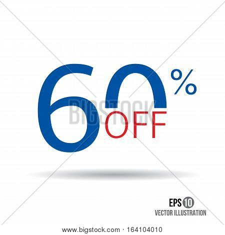 60 sale. Price off icon with 60 percent discount.