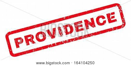 Providence text rubber seal stamp watermark. Tag inside rounded rectangular banner with grunge design and dirty texture. Slanted glyph red ink sticker on a white background.