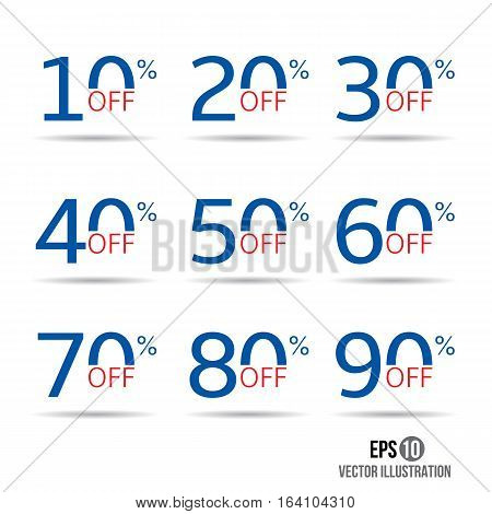 Sale and discount tag set. Price off badge design template. 10,20,30,40,50,60,70,80,90 percent sale.