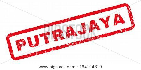 Putrajaya text rubber seal stamp watermark. Tag inside rounded rectangular banner with grunge design and dust texture. Slanted glyph red ink sticker on a white background.