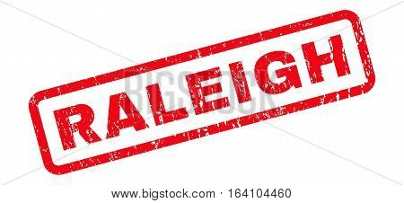 Raleigh text rubber seal stamp watermark. Tag inside rounded rectangular shape with grunge design and scratched texture. Slanted glyph red ink sticker on a white background.