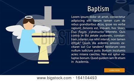 Baptism Conceptual Banner | Great flat illustration concept icon and use for Religious, event, holiday, celebrate and much more.