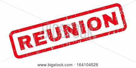 Reunion text rubber seal stamp watermark. Tag inside rounded rectangular shape with grunge design and unclean texture. Slanted glyph red ink sticker on a white background.
