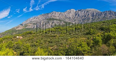 Tucepi view of the Biokovo, second-highest mountain range in Croatia, located along the Dalmatian coast of the Adriatic Sea.