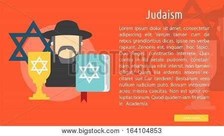 Judaism Conceptual Banner | Great flat illustration concept icon and use for Religious, event, holiday, celebrate and much more.
