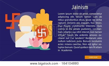 Jainism Conceptual Banner | Great flat illustration concept icon and use for Religious, event, holiday, celebrate and much more.