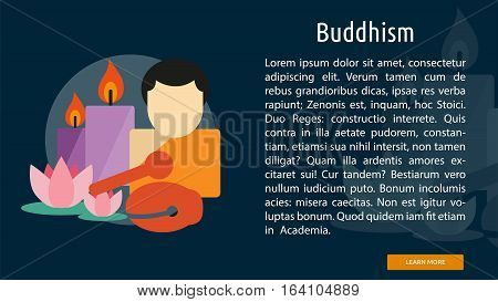 Buddhism Conceptual Banner | Great flat illustration concept icon and use for Religious, event, holiday, celebrate and much more.