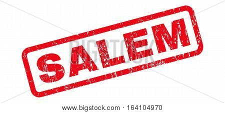 Salem text rubber seal stamp watermark. Tag inside rounded rectangular shape with grunge design and dust texture. Slanted glyph red ink sign on a white background.