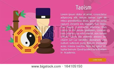 Taoism Conceptual Banner | Great flat illustration concept icon and use for Religious, event, holiday, celebrate and much more.