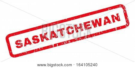 Saskatchewan text rubber seal stamp watermark. Caption inside rounded rectangular shape with grunge design and unclean texture. Slanted glyph red ink sticker on a white background.