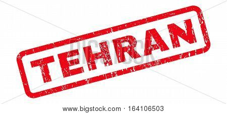 Tehran text rubber seal stamp watermark. Caption inside rounded rectangular shape with grunge design and dust texture. Slanted glyph red ink sticker on a white background.