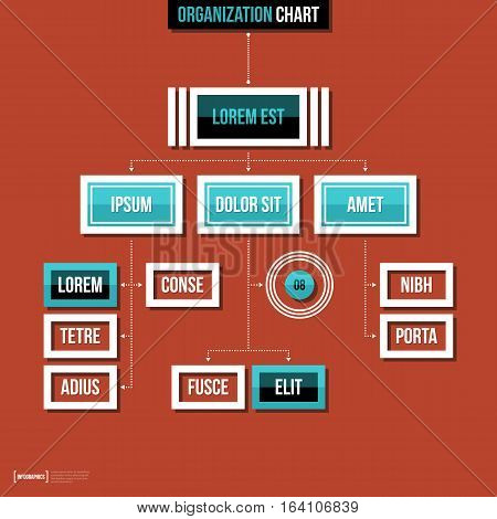 Modern Organization Chart Template In Flat Style On Red Background.