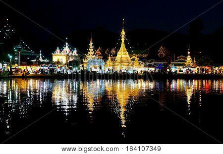 Burmese Architectural Style of Wat Chong Klang and Wat Chong Kham at night. Mae Hong Son Northern Thailand