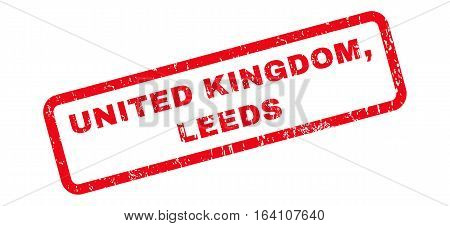 United Kingdom Leeds text rubber seal stamp watermark. Caption inside rounded rectangular shape with grunge design and dirty texture. Slanted glyph red ink sign on a white background.