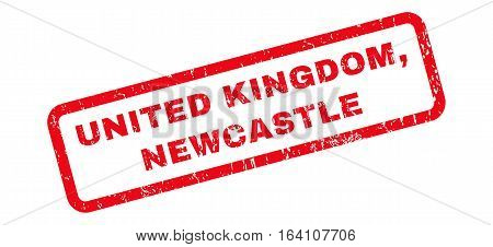United Kingdom Newcastle text rubber seal stamp watermark. Tag inside rounded rectangular shape with grunge design and scratched texture. Slanted glyph red ink sign on a white background.