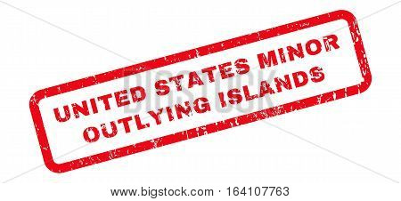 United States Minor Outlying Islands text rubber seal stamp watermark. Tag inside rounded rectangular banner with grunge design and scratched texture.