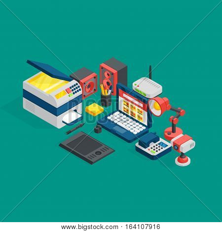Office equipment isometric vector symbols isolated on white. Business modern illustration flat technology workstation. Cabinet tool house industry object.