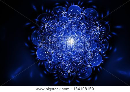 Abstract Exotic Flower With Glowing Sparkles On Black Background. Fantasy Fractal Design In Royal Bl