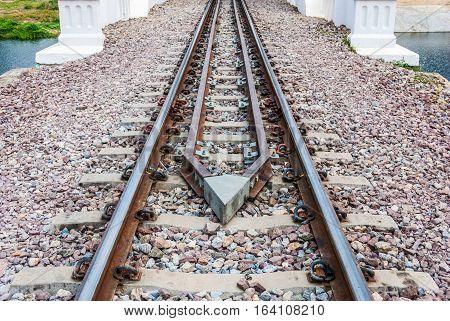 Guard Rail of Railway Track on Concrete Bridge
