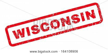 Wisconsin text rubber seal stamp watermark. Tag inside rounded rectangular banner with grunge design and scratched texture. Slanted glyph red ink sticker on a white background.