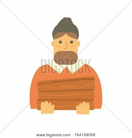 Bearded man lumberjack vector. Mustache character isolated vintage style casual guy. Adult occupation fashion woodcutter portrait illustration.