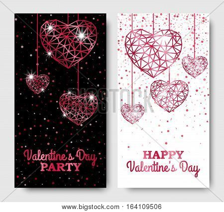 Happy Valentines Day vertical Leaflets with Lattice Magenta Hanging Hearts. Vector illustration. Glowing Invitation Template.