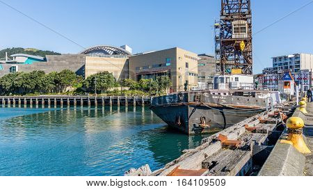 Wellington, New Zealand - Oct 30, 2015: Barge named
