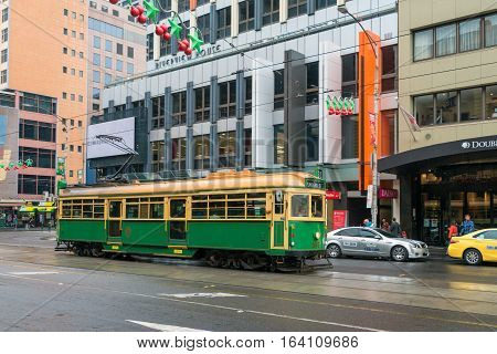 Melbourne, Australia - December 27 2016: Melbourne City Circle Tram at Flinders Street. The service is the most famous iconic transportation in the central business district which passing through major tourist attractions and linking with other tram train