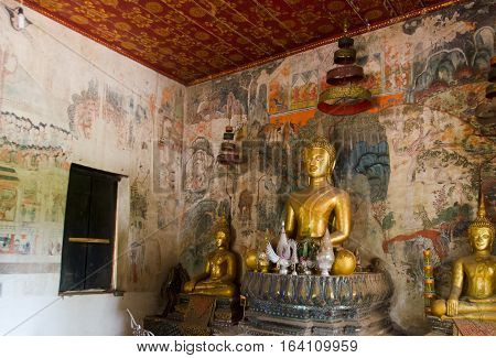 Shrine and mural paintings of Wat Patuoah in Luang Prabang Laos