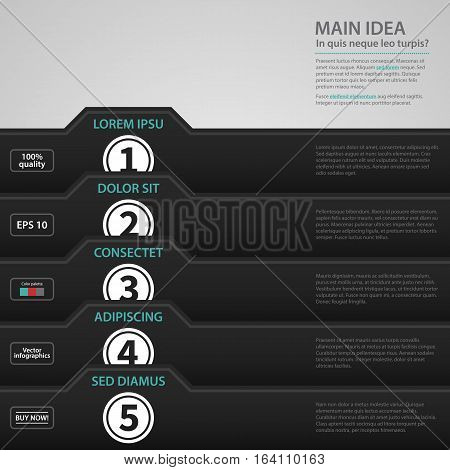 Modern Web Design Template With Black Paper Folders And Numbered Options. Strict Corporate Business