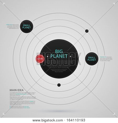 Modern Web Design Template With Planetary System On Gray Background. Strict Corporate Business Style