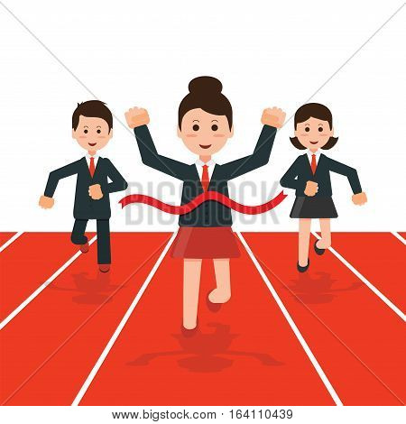 Business people running race competition with happy businesswoman winning the race breaking finish linebusiness success conceptual cartoon flat design vector illustration.
