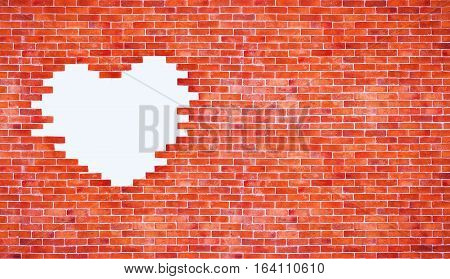 Love valentine day and brick wall background concept - Vintage white heart shape on red brick wall style and copy space. Use for love and valentine day artwork