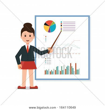 Businesswoman in suit making presentation explaining charts on board. Business seminar Business meeting teamwork planning conference brainstorming in flat style conceptual vector illustration.