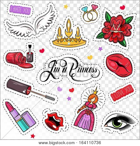Princess comic girlish patches set of junky cartoon stickers with make up accessories symbols and images vector illustrations