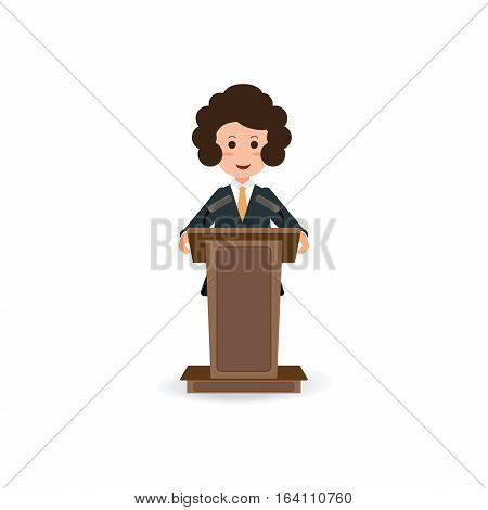 Business woman standing to speaking and presentation on podium with microphones Cartoon character Flat style vector illustration