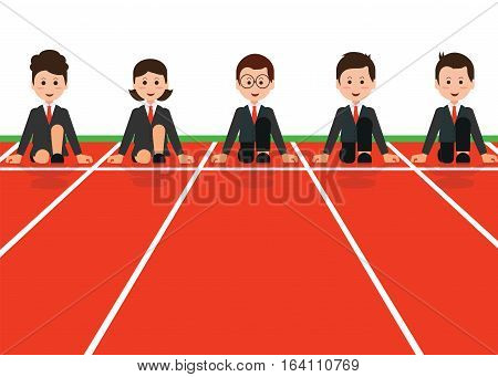 Businessman and businesswoman lined up getting ready for race in business business competitioncartoon flat design conceptual vector illustration.