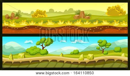 Game landscapes horizontal banners with ground and sky trees and plants stones and hills isolated vector illustration