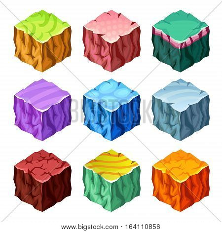 Isometric set of colorful gaming cubes with landscape elements on white background isolated vector illustration