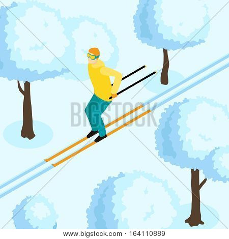 Man in yellow jacket on cross country ski in winter forest or in park isometric vector illustration
