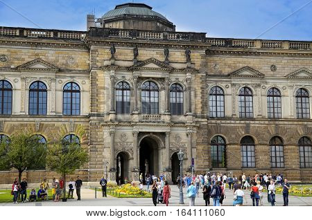 DRESDEN GERMANY - AUGUST 13 2016: The entrance to the old masters picture gallery Dresden Dresdner Zwinger palace designed by Poeppelmann in 1710 in Dresden Germany on August 13 2016.