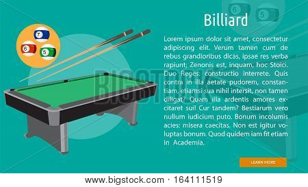 Biliard Conceptual Banner | Great flat illustration concept icon and use for sport, award, hobby, job, and much more.