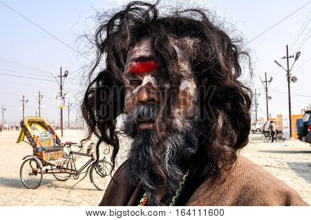 Allahabad Uttar Pradesh India- 15 January 2013: An Aghori Sadhu with long hairs ash and red color holy mark on face wearing human bones and rudraksha bead at Mahakumbh mela Allahabad Uttar Pradesh India.The Aghori are known to engage in post-mortem ritual