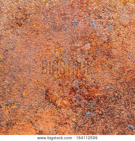 Rusty dirty iron metal plate background. Old rusty metal. Grunge retro vintage of rusty metal plate. Red rusted metal with copy space for text or image.