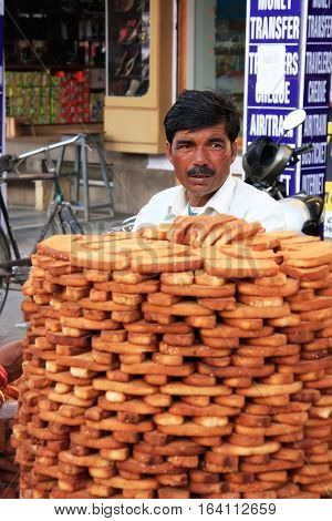 Jodhpur, India - February 11: An Unidentified Man Sells Bread At Sadar Market On February 11, 2011 I