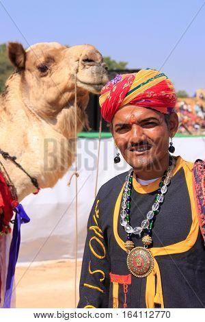 Jaisalmer, India - February 16: Unidentified Man Leads Camel During Desert Festival On February 16,