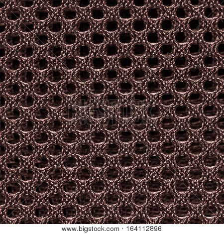 Brown fishnet cloth material texture background. Nylon texture. Nylon fabric. Nylon bag for background with copy space for text or image.