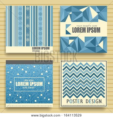 Set of vector square winter templates for posters flyers cards cd covers. Abstract New Year's blue patterns with place for your text.